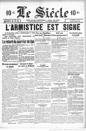journaux-1918-11-12 Le Siècle, Armistice copie.jpg